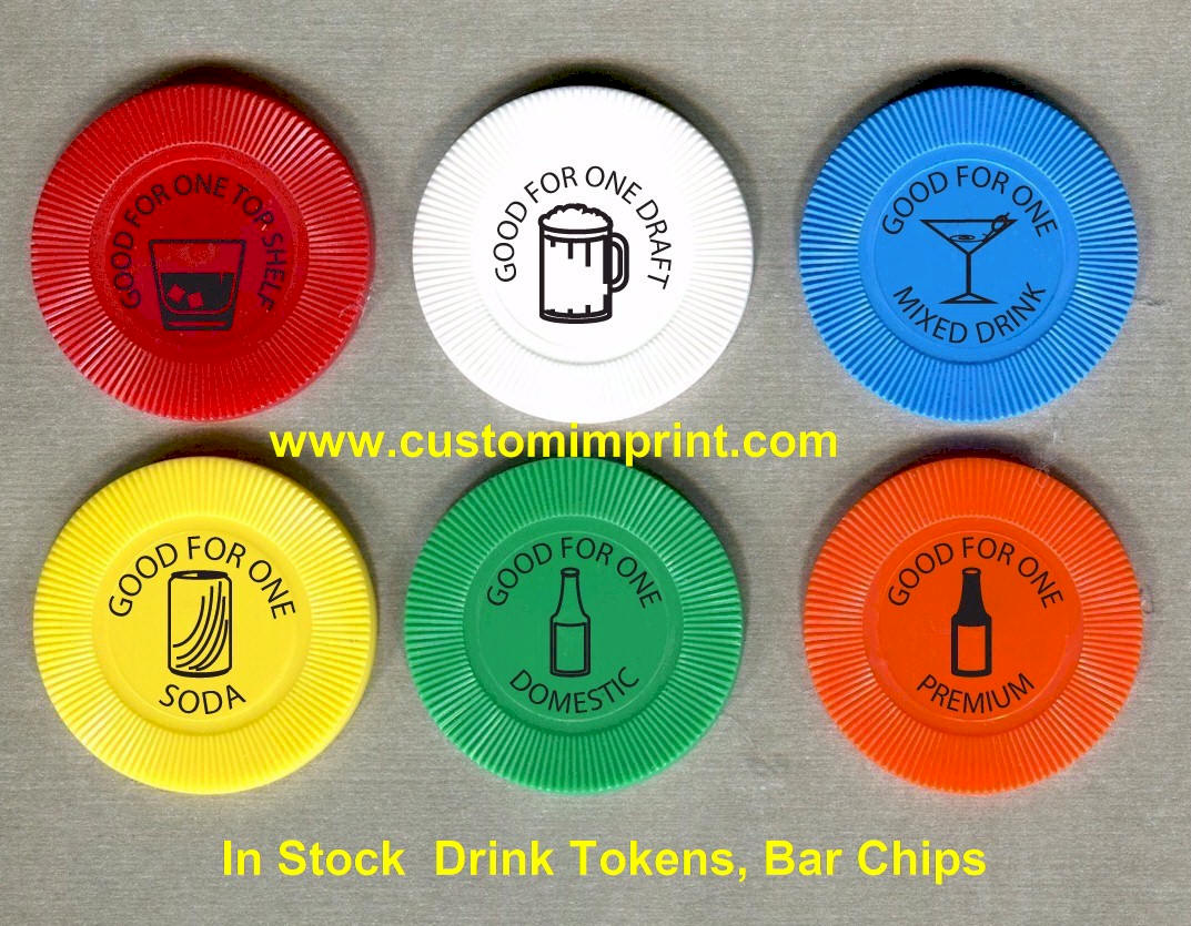 Custom imprint drink tokens bar chips custom printed for Drink token template